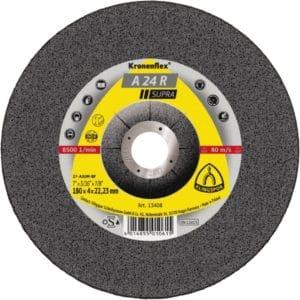 Brusna plošča Klingspor A 24 R Supra, primerna za uporabo na jeklu in nerjavečem jeklu.