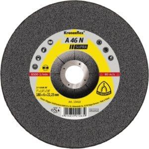 Brusna plošča Klingspor A 46 N Supra, namenjena obdelavi aluminija, ki se med uporabo ne maši.